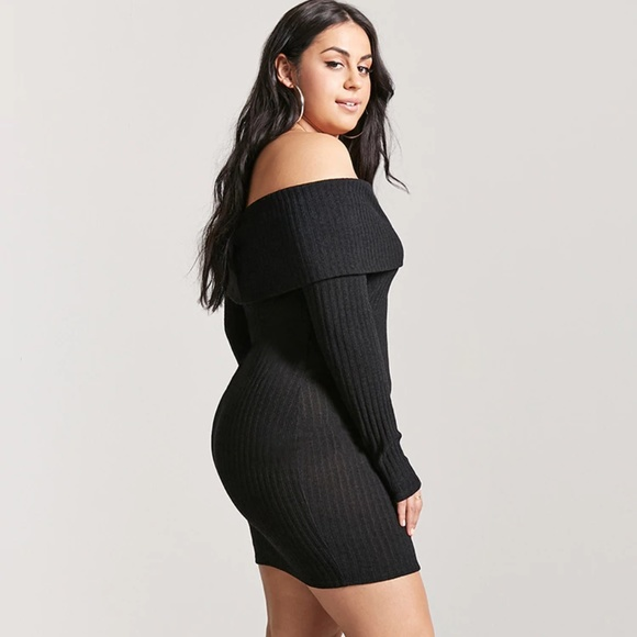 Black Plus Size Off-the-Shoulder Sweater Dress NWT